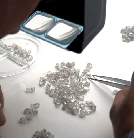 Sorting rough diamonds at De Beers.